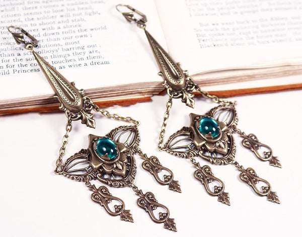 Millicent Chandelier Earrings - Emerald - Antiqued Brass - Rabbitwood & Reason