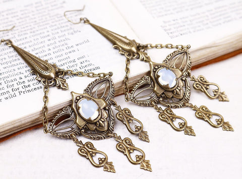 Millicent Chandelier Earrings - White Opal - Antiqued Brass - Rabbitwood & Reason
