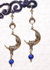 Moon Goddess Earrings - Capri Blue - Antiqued Brass - Rabbitwood & Reason