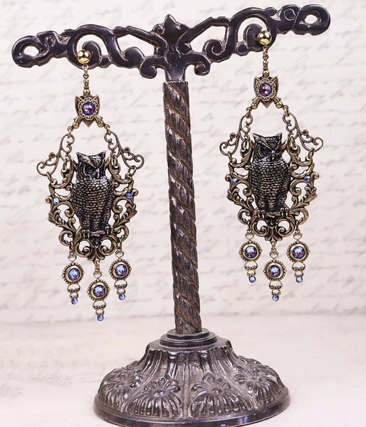 Owl Swing Chandelier Earrings with Burgundy Delite Swarovski© Crystals - Antiqued Brass - by dosha of Rabbitwood & Reason