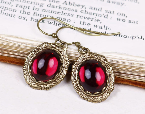 Perceval Earrings in Garnet - Antiqued Brass by dosha of Rabbitwood & Reason