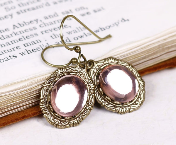Perceval Earrings in Pale Rosebud - Antiqued Brass by dosha of Rabbitwood & Reason