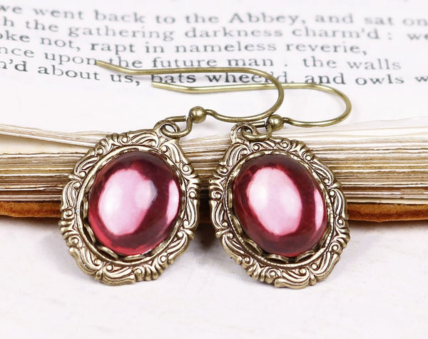 Perceval Earrings in Rose - Antiqued Brass by dosha of Rabbitwood & Reason