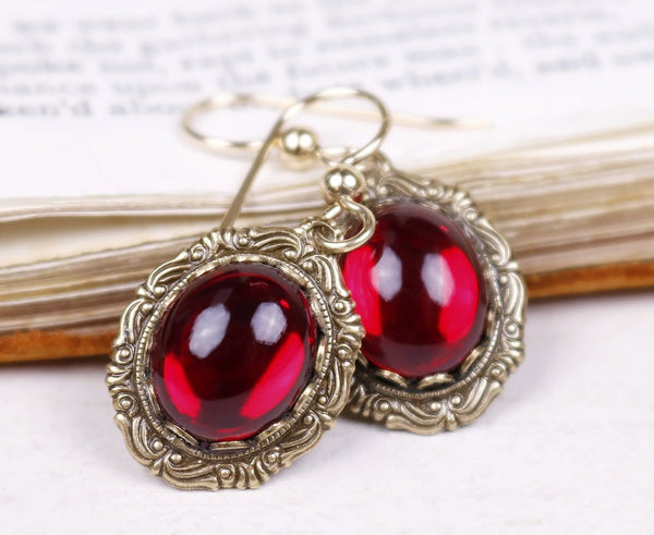 Perceval Earrings in Ruby - Antiqued Brass by dosha of Rabbitwood & Reason