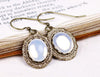 Perceval Earrings in White Opal - Antiqued Brass by dosha of Rabbitwood & Reason