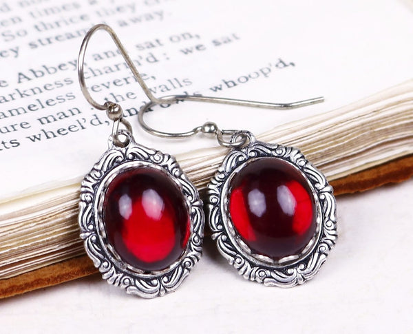 Perceval Earrings in Garnet - Antiqued Silver by dosha of Rabbitwood & Reason