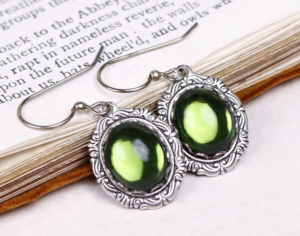 Perceval Earrings in Olivine - Antiqued Silver by dosha of Rabbitwood & Reason