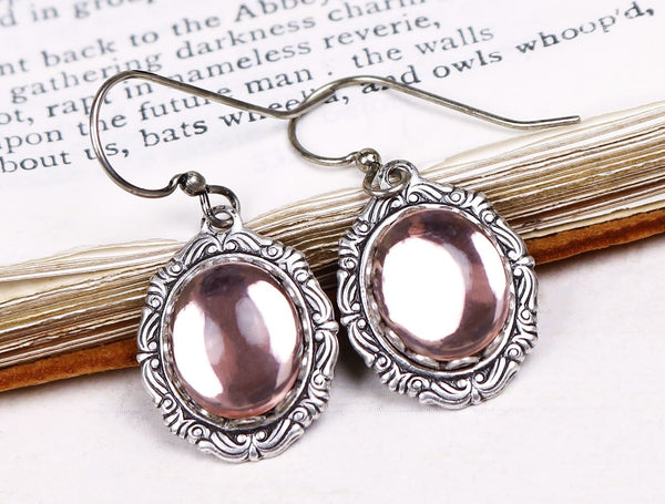 Perceval Earrings in Pale Rosebud - Antiqued Silver by dosha of Rabbitwood & Reason