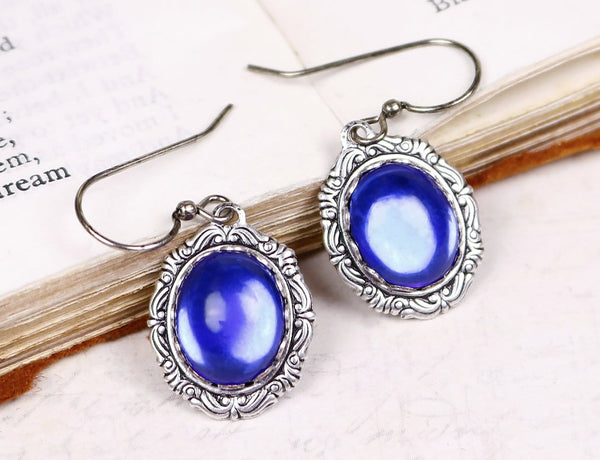 Perceval Earrings in Sapphire - Antiqued Silver by dosha of Rabbitwood & Reason