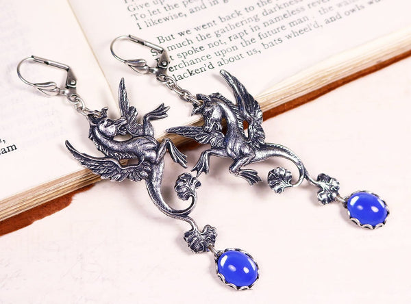 Poseidon's Steed Earrings - Antoinette Blue Opal - Antiqued Silver - Rabbitwood & Reason