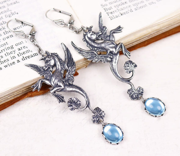 Poseidon's Steed Earrings - Aquamarine - Antiqued Silver - Rabbitwood & Reason