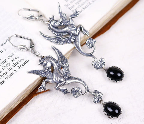 Poseidon's Steed Earrings - Black - Antiqued Silver - Rabbitwood & Reason