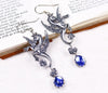 Poseidon's Steed Earrings - Sapphire - Antiqued Silver - Rabbitwood & Reason
