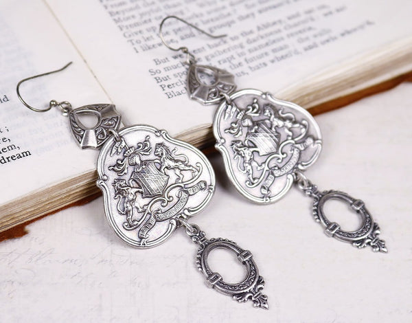 Regal Crest Chandelier Earrings - Antiqued Silver - Rabbitwood & Reason
