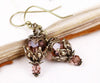 Rhiannon Earrings Antiqued Brass - Rose Blush - Rabbitwood & Reason