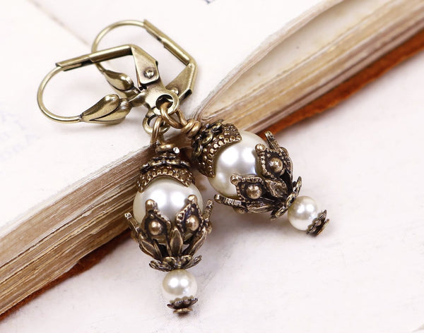 Rhiannon Earrings Antiqued Brass - Cream Pearl - Rabbitwood & Reason