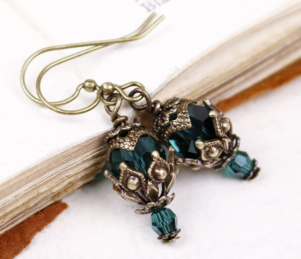 Rhiannon Earrings Antiqued Brass - Emerald - Rabbitwood & Reason