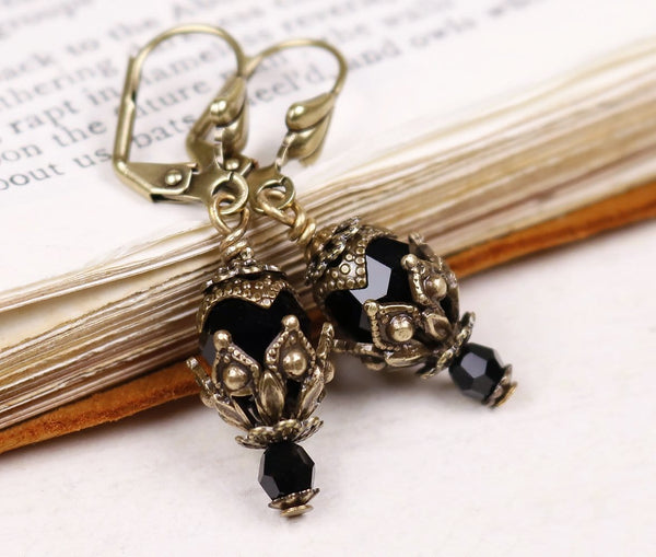 Rhiannon Earrings Antiqued Brass - Jet - Rabbitwood & Reason