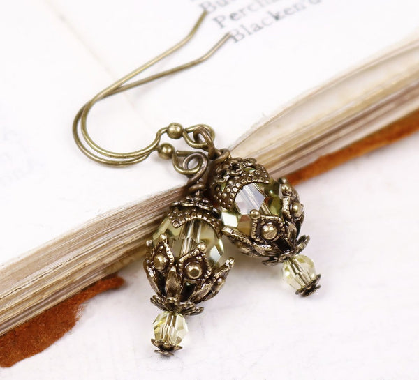 Rhiannon Earrings Antiqued Brass - Jonquil - Rabbitwood & Reason
