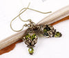 Rhiannon Earrings Antiqued Brass - Olivine - Rabbitwood & Reason
