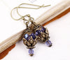 Rhiannon Earrings Antiqued Brass - Tanzanite - Rabbitwood & Reason