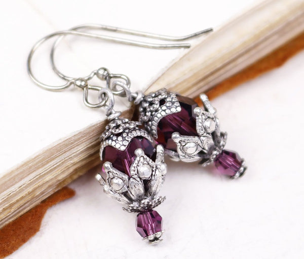 Rhiannon Earrings Antiqued Silver - Amethyst - Rabbitwood & Reason
