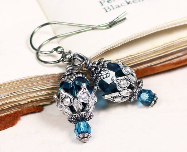 Rhiannon Earrings Antiqued Silver - Blue Zircon - Rabbitwood & Reason