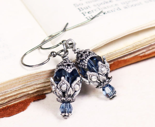 Rhiannon Earrings Antiqued Silver - Denim - Rabbitwood & Reason