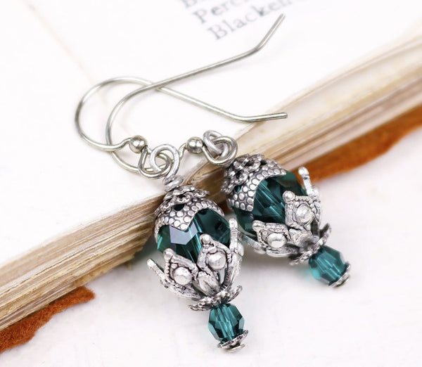 Rhiannon Earrings Antiqued Silver - Emerald - Rabbitwood & Reason