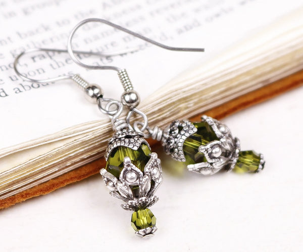 Rhiannon Earrings Antiqued Silver - Olivine - Rabbitwood & Reason