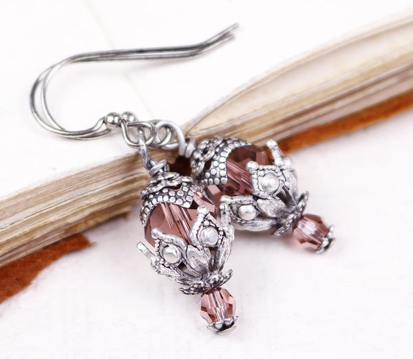 Rhiannon Earrings Antiqued Silver - Rose Peach - Rabbitwood & Reason