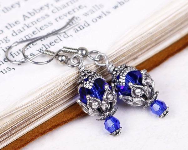 Rhiannon Earrings Antiqued Silver - Sapphire - Rabbitwood & Reason