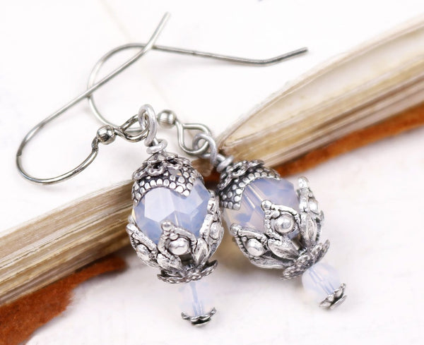 Rhiannon Earrings Antiqued Silver - White Opal - Rabbitwood & Reason