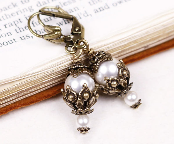 Rhiannon Earrings Antiqued Brass - White Pearl - Rabbitwood & Reason