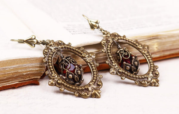 Valerian Earrings - Siam - Antiqued Brass - Rabbitwood & Reason