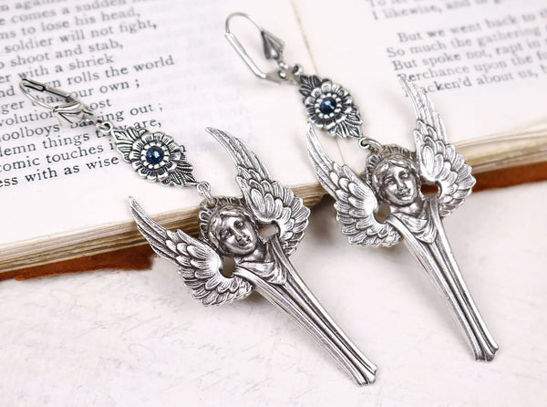 Valkyrie Earrings with Montana Swarovski© Crystals - Antiqued Silver by dosha of Rabbitwood & Reason