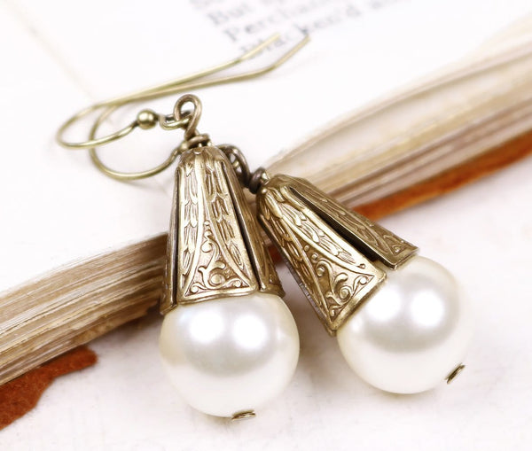 Windsor Pearl Drop Earrings in Cream Pearl - Antiqued Brass - by dosha of Rabbitwood & Reason