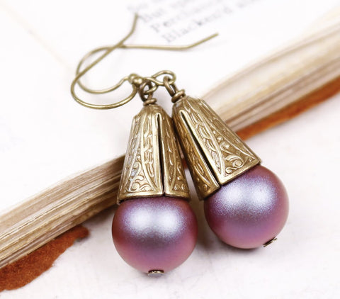 Windsor Pearl Drop Earrings in Iridescent Red - Antiqued Brass - by dosha of Rabbitwood & Reason