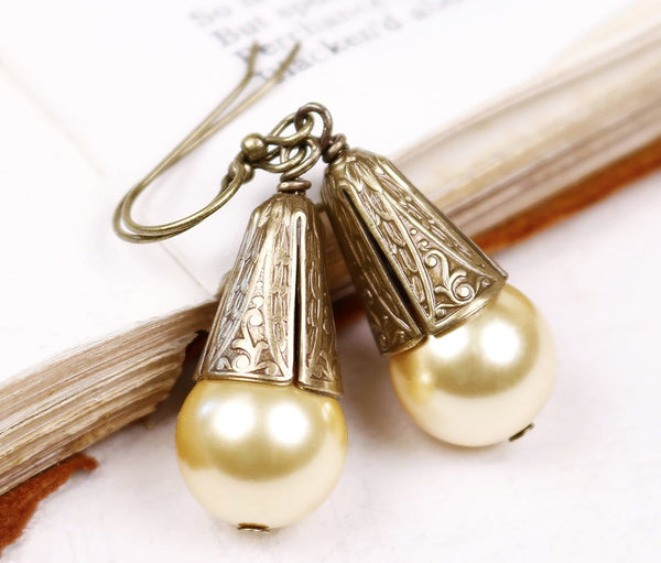 Windsor Pearl Drop Earrings in Light Gold - Antiqued Brass - by dosha of Rabbitwood & Reason