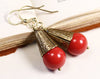 Windsor Pearl Drop Earrings in Red Coral - Antiqued Brass - by dosha of Rabbitwood & Reason
