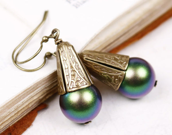 Windsor Pearl Drop Earrings in Scarabaeus Green - Antiqued Brass - by dosha of Rabbitwood & Reason