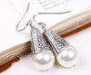 Windsor Pearl Drop Earrings in Cream Pearl - Antiqued Silver - by dosha of Rabbitwood & Reason