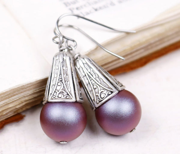 Windsor Pearl Drop Earrings in Iridescent Red Pearl - Antiqued Silver - by dosha of Rabbitwood & Reason