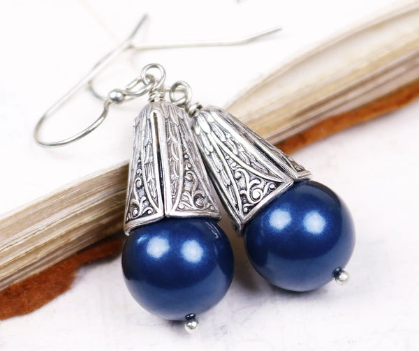 Windsor Pearl Drop Earrings in Petrol Pearl - Antiqued Silver - by dosha of Rabbitwood & Reason