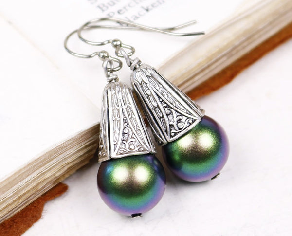 Windsor Pearl Drop Earrings in Scarabaeus Green Pearl - Antiqued Silver - by dosha of Rabbitwood & Reason