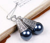 Windsor Pearl Drop Earrings in Tahitian Pearl - Antiqued Silver - by dosha of Rabbitwood & Reason