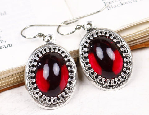 Novella Earrings in Garnet & Antiqued Silver - by dosha of Rabbitwood & Reason