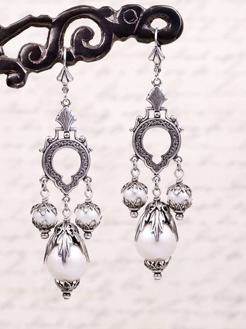 Saxony Chandelier Earrings in Iridescent White Pearl - Antiqued Silver - by dosha of Rabbitwood & Reason