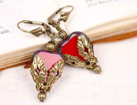 Valentina Earrings in Red - Antiqued Brass - by dosha of Rabbitwood & Reason