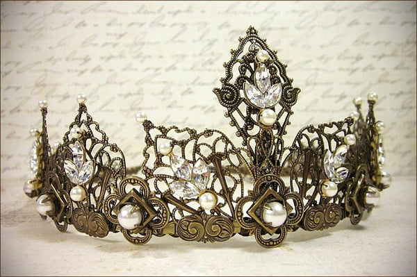 Elizabethan Tiara - Crystal Navette Stones and Cream Pearls - Antiqued Brass - Rabbitwood & Reason